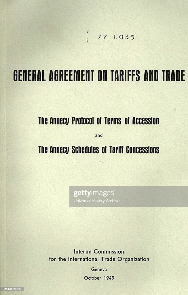 The Front Cover Of A 1949 Gatt Booklet Pictures Getty Images