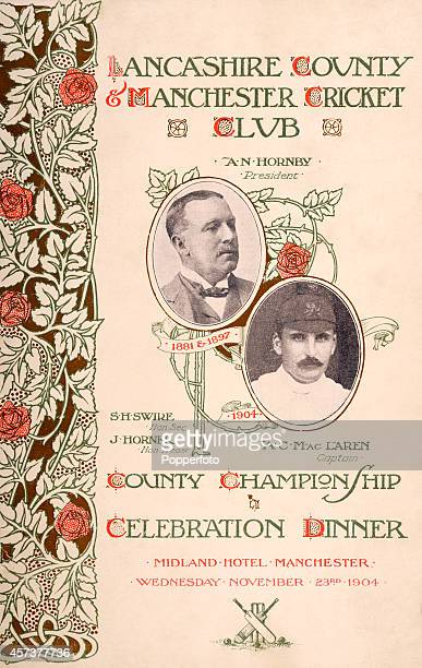 The front cover of a menu and programme card for the Lancashire County and Manchester Cricket Club County Championship Celebration Dinner featuring...