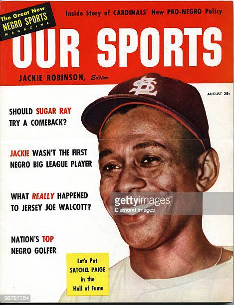 The front cover of the August, 1953 issue of Our Sports magazine shows a color image of pitcher Satchel Paige of the St. Louis Browns. Our Sports...