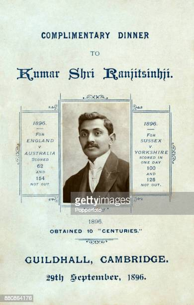 The front cover of the eightsided menu card for a Complimentary Dinner for Sussex and England cricketer Kumar Shri Ranjitsinhji attended by 300...