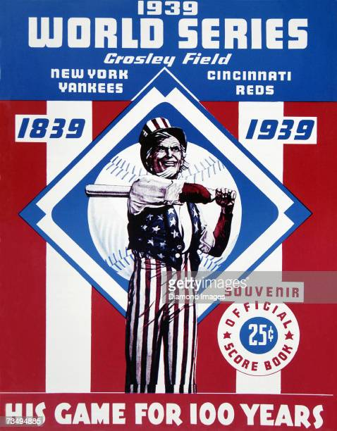 The front cover of the official program for World Series games between the New York Yankees and the Cincinnati Reds played in October 1939 at Crosley...
