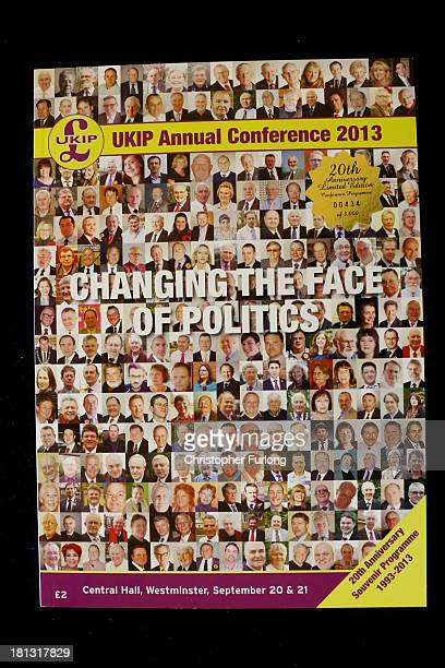 The front cover of the UKIP party conference souvenir programme on September 20 2013 in London England Members of the United kingdom Independent...
