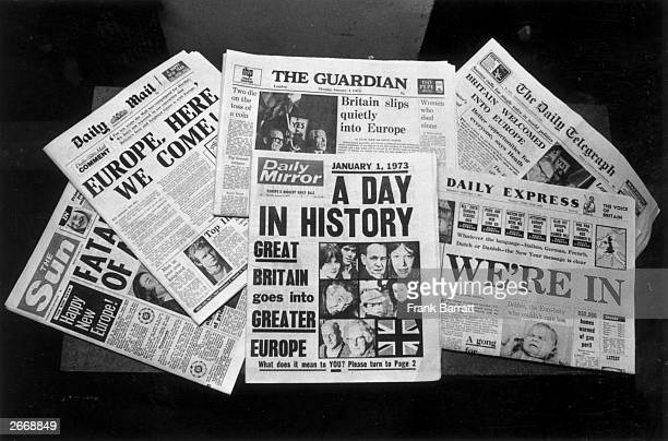 The front covers of London newspapers reporting Britain's entry into the Common Market