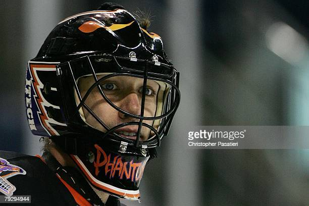 The front detail of the mask of goaltender Brian Boucher of the Philadelphia Phantoms during the third period against the Bridgeport Sound Tigers on...