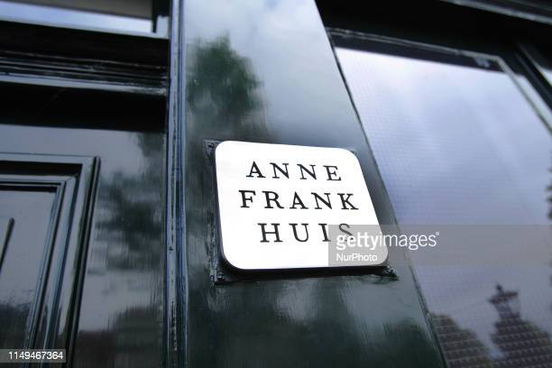 The front door of the Anne Frank house at the Prinsengracht canalremembering Anne Frank's 90th Birthday on June 12 2019 in AmsterdamNetherlands Today...
