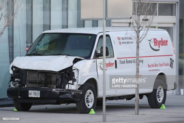 TOPSHOT The front end damage of the van that the driver used to hit several pedestrians in Toronto Ontario on Monday on April 23 2018 At least nine...
