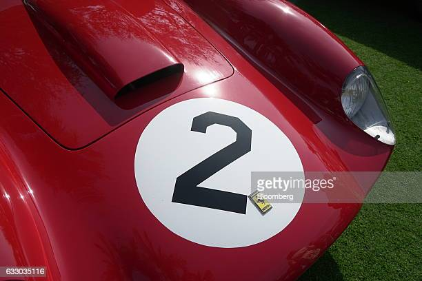 The front end of a 1958 Ferrari SpA 412 MI race vehicle is seen during the 26th Annual Cavallino Classic Event at the Breakers Hotel in Palm Beach,...