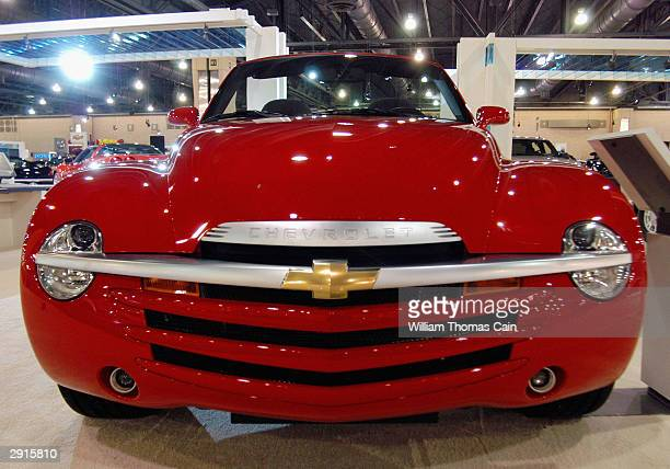 The front end of the Chevrolet SSR is seen at the Philadelphia Auto Show January 30 2004 in Philadelphia Pennsylvania The Philadelphia Auto Show...