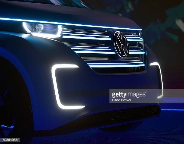The front end of Volkswagen's BUDDe a long distance electric vehicle is displayed at a press event at CES 2016 at The Chelsea at The Cosmopolitan of...