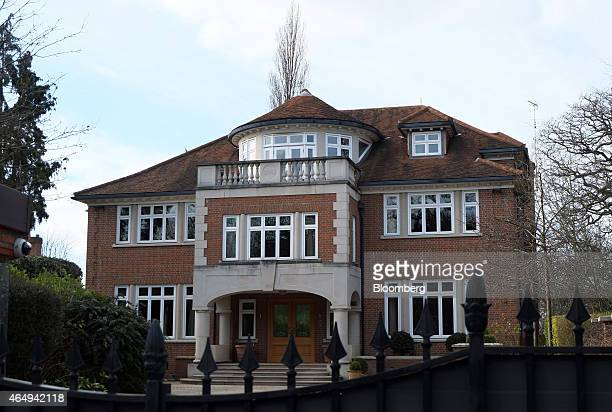 The front entrance and the exterior of Carlton House is seen from the roadside on The Bishops Avenue also known as Billionaires Row in the suburb of...
