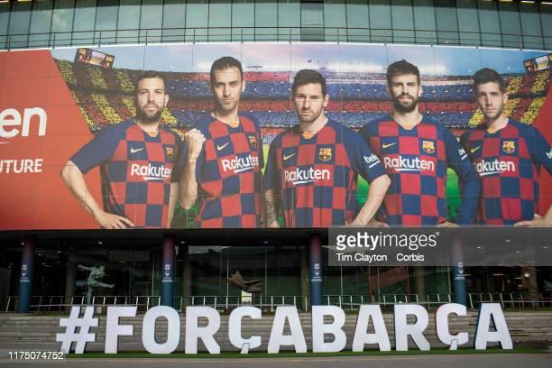 The front entrance exterior of Nou Camp Stadium home of Barcelona FC for the 2019/2010 season before the Barcelona V Valencia La Liga regular season...
