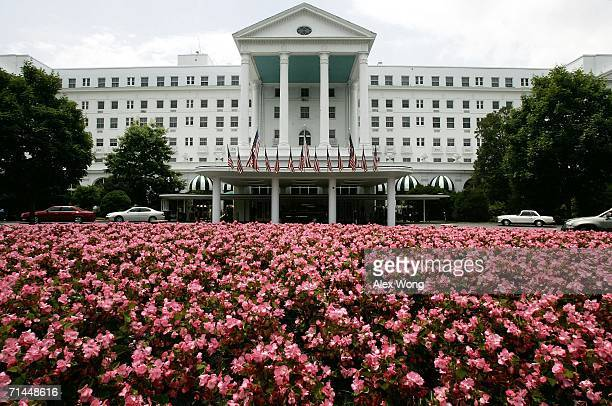 "The front entrance of Greenbrier Resort is seen July 14, 2006 in White Sulphur Springs, West Virginia. The bunker, codenamed ""Project Greek Island""..."