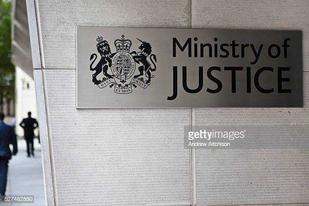 The front entrance sign to the Ministry of Justice headquaters in Westminster Central London