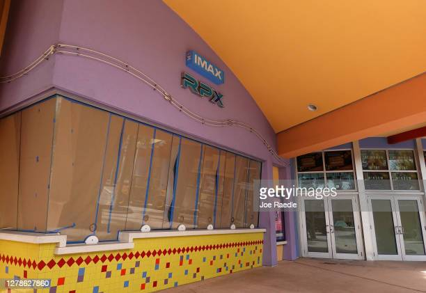 The front entrance to a Regal Cinemas location is seen on October 05, 2020 in Kendall, Florida. The parent company of Regal Cinemas announced that it...