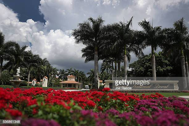 The front entrance to the Trump National Doral is seen where a golf course owned by Republican presidential candidate Donald Trump is located on June...