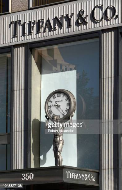 The front facade of the Tiffany & Company store in San Francisco, California's Union Square shopping district features a clock incorporated into a...