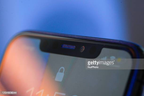 The front facing camera module is seen on the back of an iPhone 11 Pro Max in The Hague The Netherlands on March 3 2020 The South Korean LG Innotek...