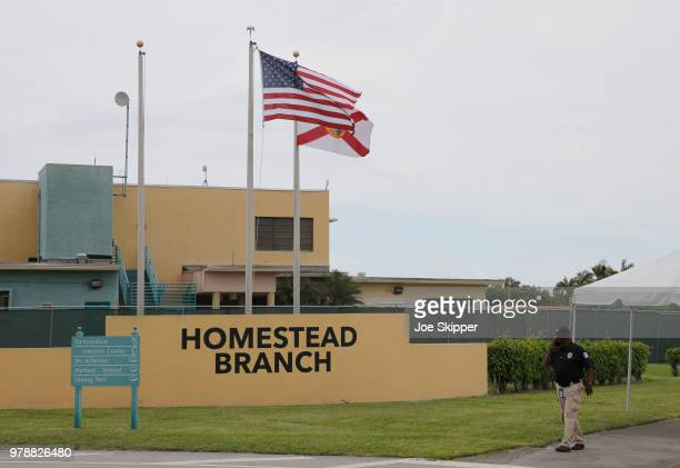 The front gate of the Homestead Temporary Shelter For Unaccompanied Children is shown on June 19 2018 in Homestead Florida The Trump administration...