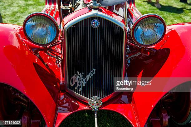 The front grill of a 1932 Alfa Romeo 8C 2300 Touring Spider is displayed during the 2013 Pebble Beach Concours d' Elegance in Pebble Beach California...