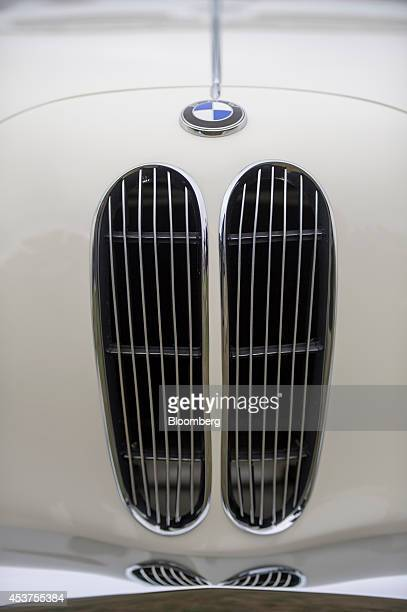 The front grill of a 1958 Bayerische Motoren Werke AG 503 Series II Cabriolet is seen during the 2014 Pebble Beach Concours d'Elegance in Pebble...