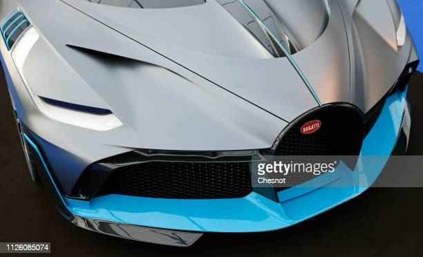 The front grill of a Bugatti Divo on display during the 34nd International Festival Automobile at 'Hotel des Invalides' on January 30 2019 in Paris...