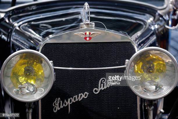 The front grill of a Hispano Suiza H6B 32 CV Brougham de Ville 1925 is displayed during a press preview before a mass auction of vintage vehicles...