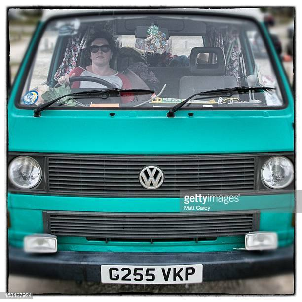 The front of a 1989 third generation or T25 Volkswagen Transporter van is seen near Newquay on August 8 2014 in Cornwall England The Volkswagen...