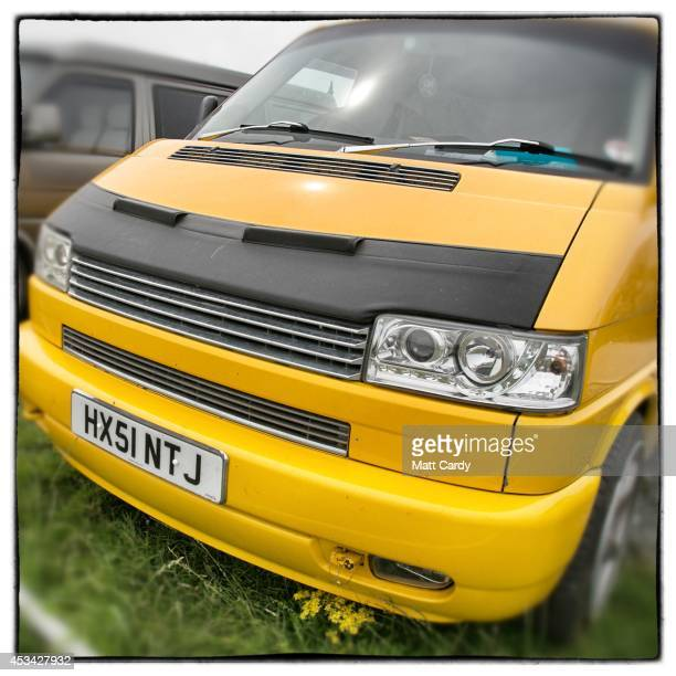 The front of a 2001 fourth generation T4 Volkswagen Transporter van is seen near Newquay on August 8 2014 in Cornwall England The Volkswagen...