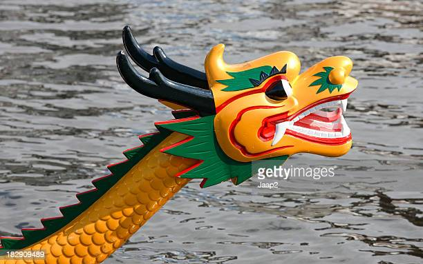 The front (head) of a dragon boat, outdoor close-up