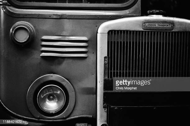 The front of a Leyland Titan doubledecker bus at Stockwell Bus Garage south London 26th February 1967