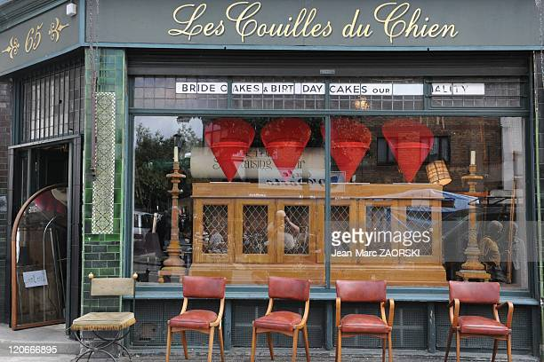 The front of A Store Nammed 'Les Couilles Du Chien' in Portobello Road Notting Hill in London United Kingdom on September 18 2010