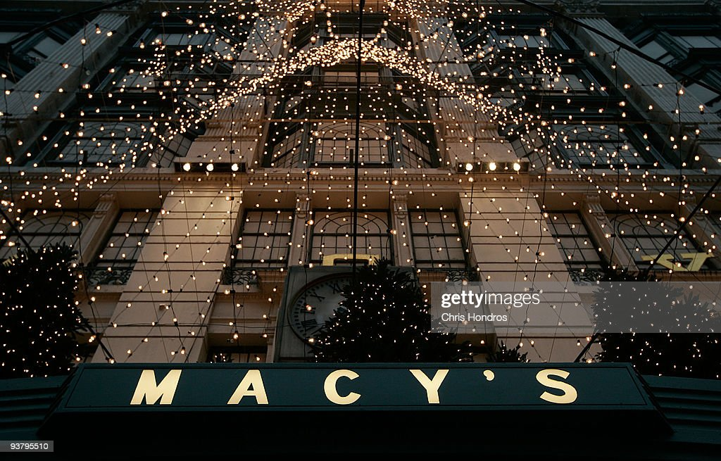 The front of Macy's department store is festooned with holiday decorations in midtown Manhatann December 3, 2009 in New York City. Retail sales declined 0.3 percent, with Macy's dopping 6.1 percent, in November, leading some analysts to fear that the holiday season will not live up to expectations.