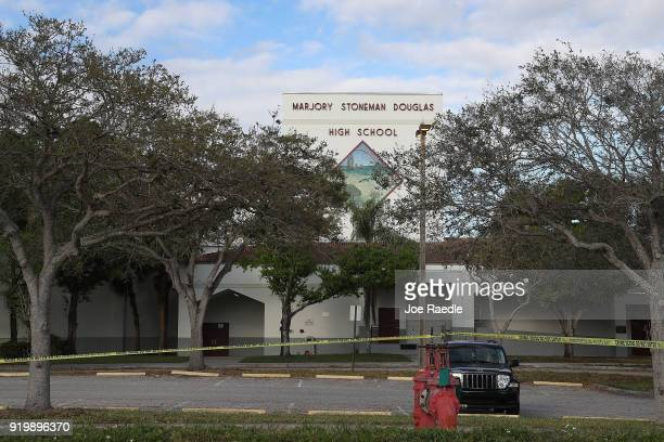 The front of Marjory Stoneman Douglas High School is seen on February 18 2018 in Parkland Florida Police arrested 19 year old former student Nikolas...