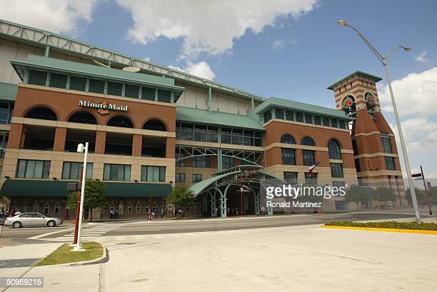 The front of Minute Maid Park before the game between the Chicago Cubs and the Houston Astros on May 25, 2004 in Houston, Texas.