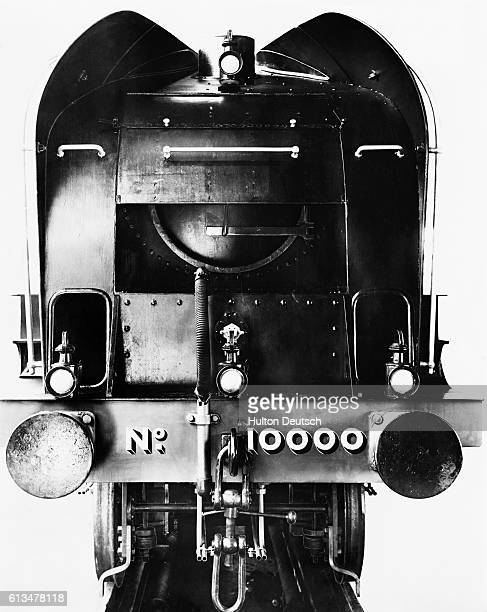 The front of the London and North Eastern Railway's No 10000 locomotive It is designed with two ducts and buffers above and behind the chimney to...