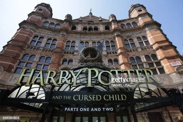 The front of the Palace Theatre promotes its new show 'Harry Potter and the Cursed Child' in London on June 6 2016 Harry Potter makes his stage debut...