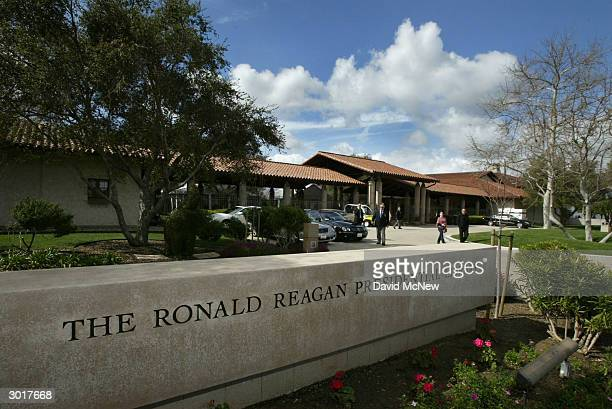 The front of the Ronald Reagan Presidential Library and Museum is shown February 26 2004 in Simi Valley California National Security Advisor Dr...