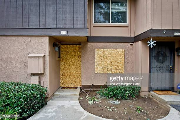 The front of the San Bernardino suspects' rented home in Redlands, CA Friday morning. Earlier in the day the landlord of the home allowed media...