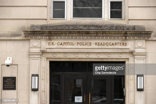 The front of the United States Capitol Police headquarters on February 19, 2021 in Washington, DC. The Capitol Police announced Thursday that it has...