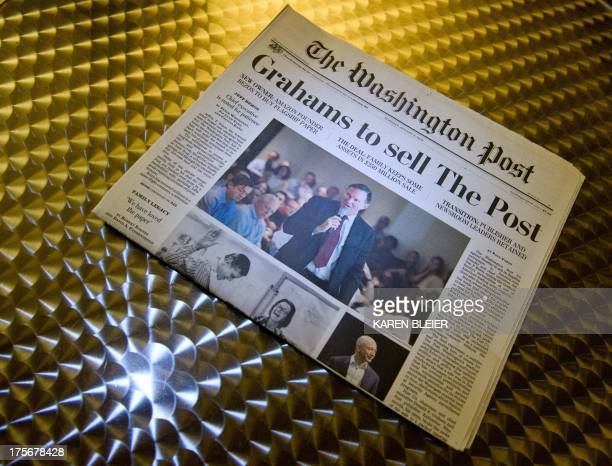 The front of the Washington Post August 6 2013 in Washington DC the day after it was announced that Amazoncom founder and CEO Jeff Bezos had agreed...