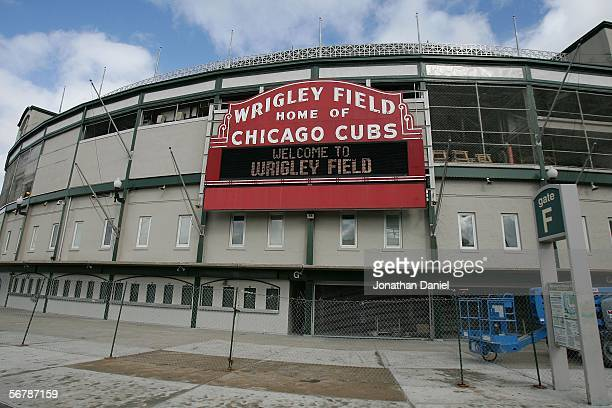 The front of Wrigley Field where outfield renovations continue is seen on February 8, 2006 in Chicago, Illinois.
