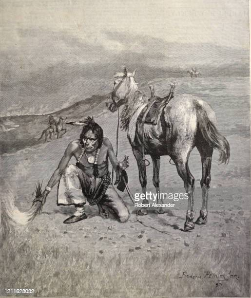The front page of a 1887 copy of Harpers Weekly with an engraving based on drawing of a Plains Indian by Frederic Remington for sale in an antique...