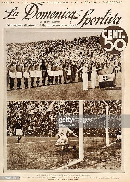 The front page of an Italian sporting newspaper La Domenica Sportiva featuring scenes from the World Cup Final between Italy and Czechoslovakia in...