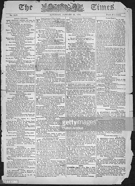 The front page of issue 2517 of The Times, published on Saturday, 26th January 1793.