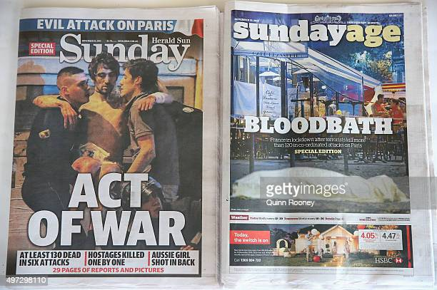 The front page of Melbourne newspapers are seen on November 15 2015 in Melbourne Australia More than 120 people were killed and over 200 injured in...