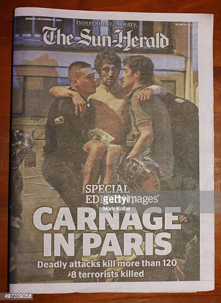 The front page of Sydney newspaper The SunHerald is seen on on November 15 2015 in Sydney Australia More than 120 people were killed and over 200...