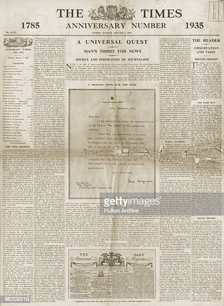 The front page of the 150th anniversary edition of The Times newspaper, dated 1st January 1935. The page features a letter of congratulation written...