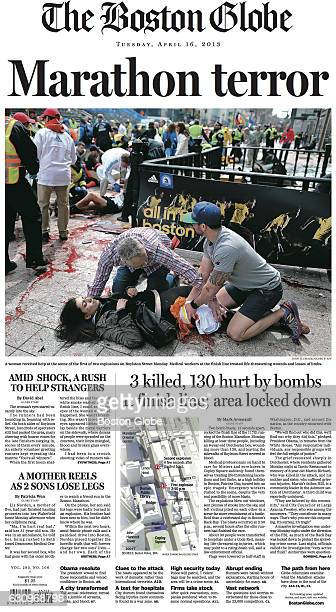 The front page of the April 16 2013 issue of The Boston Globe featureing articles on the 2013 Boston Marathon Bombings