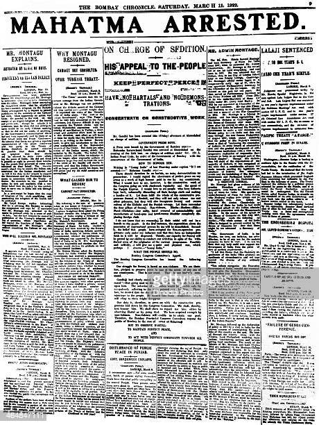 The front page of The Bombay Chronicle of 11th March 1922 reporting the previous day's arrest of Indian lawyer activist and statesman Mohandas...