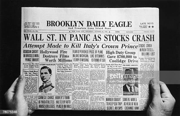 The front page of the Brooklyn Daily Eagle newspaper with the headline 'Wall St. In Panic As Stocks Crash', published on the day of the initial Wall...